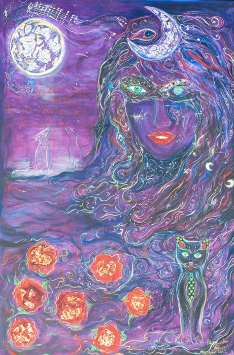 koenigin-der-nacht.jpg - Painting,  150x100 cm ©2013 by Karisma -                                                                                    Conceptual Art, Canvas, Animals, Flower, Women, purple, violet, rose, wolf, dark, goddess