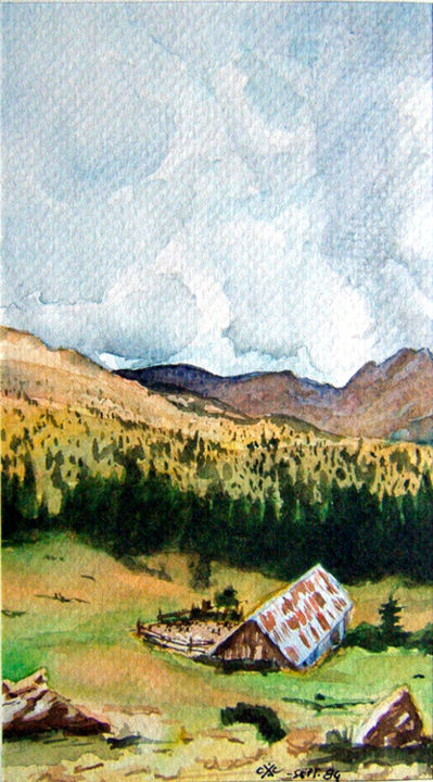 Bergerie - Painting ©2017 by KAROLUS -                        Mountainscape