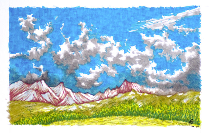 Chaîne de Belledonne - Drawing,  7.7x12.4 in, ©2018 by KAROLUS -                                                                                                                                                                                                                                                                                                                                                              Expressionism, expressionism-591, Colors, Nature, Mountainscape, Ciel, Nuages