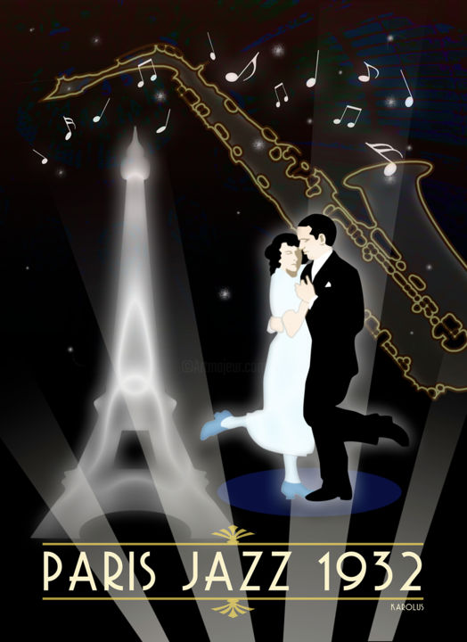 1932 Paris Jazz - Digital Arts, ©2019 by Karolus -                                                                                                                                                                                                                                                                                                                                                                                                                                                      Illustration, illustration-600, Love / Romance, History, Music, People, Nuit, Paris, Danse