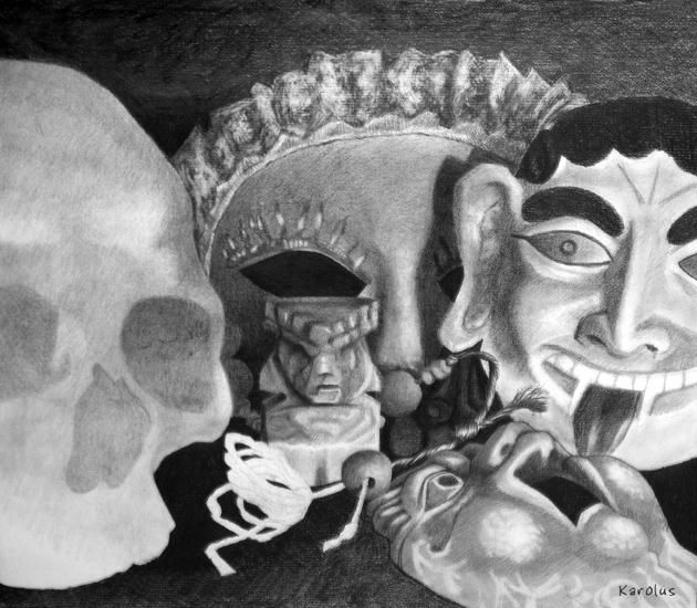 Esprits* - Drawing,  50x65 cm ©2010 by KAROLUS -                                                                    Illustration, Black and White, Mortality, Still life, Crâne humain, masques siciliens, statuette, masque de carnaval