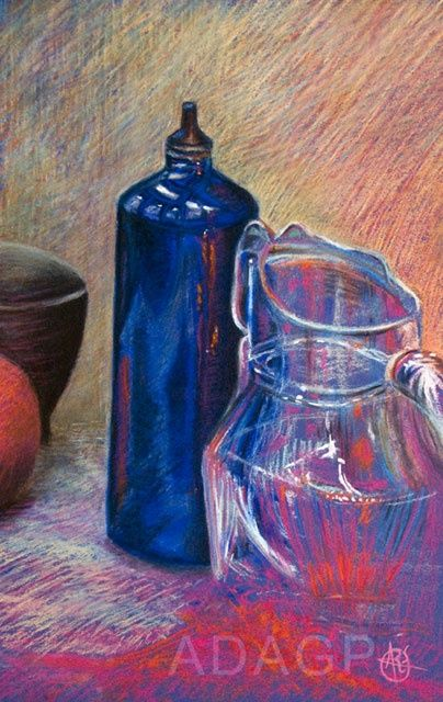 Nature morte pour une envie d'eau* - Drawing,  15.8x10.2x0.4 in, ©2012 by Karolus -                                                                                                                                                                                                                                                                                                                                                                                                          Figurative, figurative-594, Still life, Gourde, carafe, bleu, reflets, étude