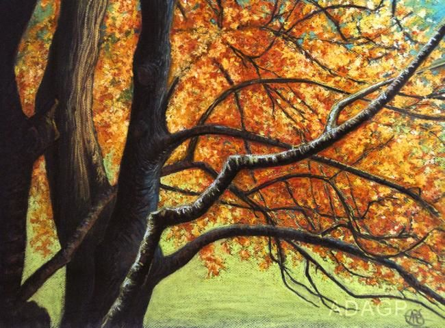 Sous-bois automnal* - Painting,  16.5x21.7 in, ©2012 by Karolus -                                                                                                                                                                                                                                                                                                                                                                                                                                                                                                  Figurative, figurative-594, Tree, Colors, Light, Nature, Automne, feuillage, feu, branchages