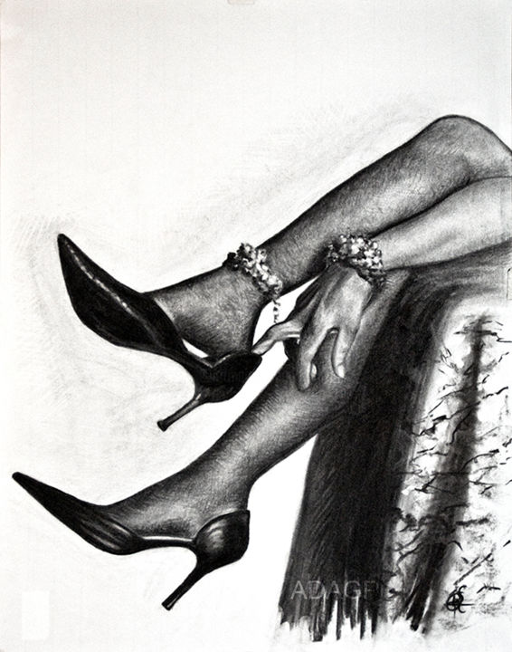 L'attente 3* - Drawing,  25.6x19.7 in, ©2014 by KAROLUS -                                                                                                                                                                                                                                                                                                                                                                                                          Figurative, figurative-594, Body, Noir et blanc, Femme, Escarpin, Main, Pied