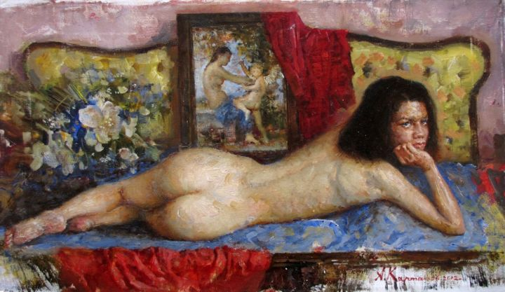 Nude with a Venus and Cupid - Painting,  34x59 cm ©2012 by Андрей Карташов -                            Nude, Venus, Cupid, Bougverau, replica, nude, model