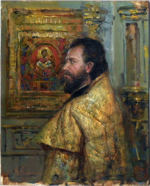 Old priest - Painting,  21x28 cm ©2010 by Андрей Карташов -                                                            Realism, Canvas, Men, priest, church, religion, holy