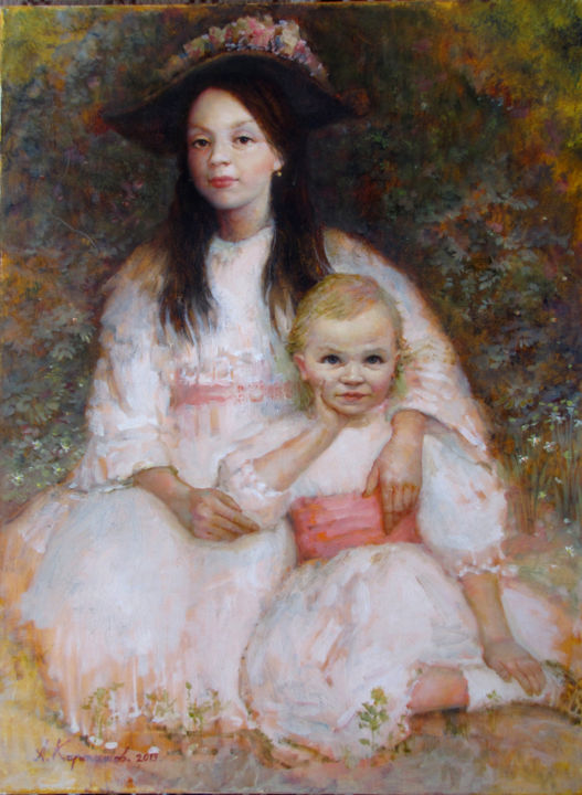 The sisters - Painting,  50x40 cm ©2013 by Андрей Карташов -                                                            Realism, Canvas, Kids, children, sisters, ancient