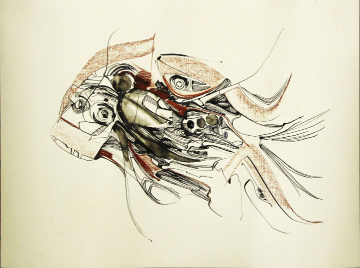 Fish SA graphics / Free Shipping - Drawing,  16.5x23.2 in, ©2019 by Olya Kartavaya -                                                                                                                                                                                                                                                                                                                                                                                                          Abstract, abstract-570, Fish, Sea, fish, sanguine, Beige, Graphic art