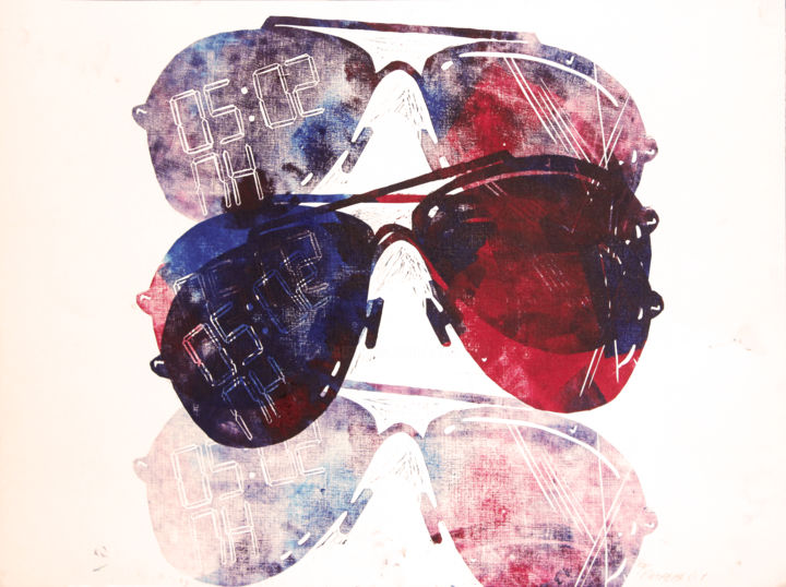 Youth will forgive / Free Shipping - Printmaking,  42x59x0.1 cm ©2019 by Olya Kartavaya -                                                                                                            Abstract Art, Minimalism, Paper, Cinema, Culture, Beach, Mortality, party, cocktails, sunglasses, a little charm of bars, beach, spring, summer, glasses, aviators