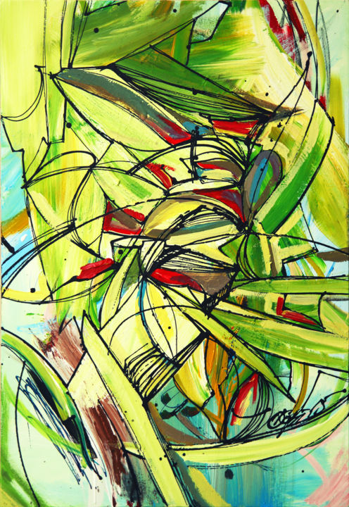 Tropic flowers / Free Shipping - Painting,  35.4x23.6x0.8 in, ©2015 by Olya Kartavaya -                                                                                                                                                                                                                                                                                                                                                                                                                                                                                                                                                                                          Abstract, abstract-570, Botanic, Landscape, Flower, tropic, tropical, flowers, abstract flowers, green, green tropics, tropics flowers