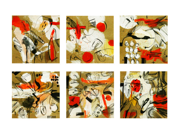 """""""Mood line"""" A set of 6 separate works / Free Shipping - Drawing,  23.6x31.5x0.1 in, ©2020 by Olya Kartavaya -                                                                                                                                                                                                                                                                                                                                                                                                                                                                                                  Abstract, abstract-570, Abstract Art, set, set cards, mark, ink, graphic art, acrylic, Mood line"""