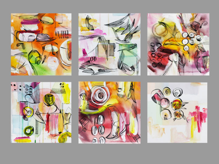 """""""Mood line 2020-3"""" A set of 6 separate works / Free Shipping - Drawing,  23.6x31.5x0.1 in, ©2020 by Olya Kartavaya -                                                                                                                                                                                                                                                                                                                                                                                                                                                                                                  Abstract, abstract-570, Abstract Art, markmaking, graphic art, watercolor, mood, abstract art, set art, square"""