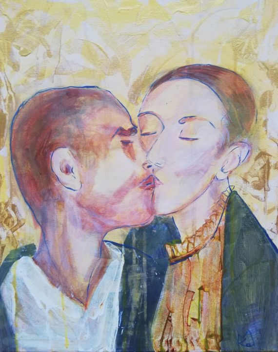 Zaid & Ania - Painting,  19.7x15.8x0.8 in, ©2020 by Ka.M -                                                                                                                                                                                                                                                                                                                                                                                                                                                      Expressionism, expressionism-591, Portraits, Love / Romance, people, love, kiss, portrait, gold
