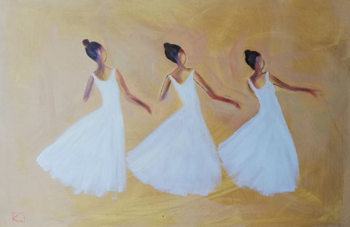 Three dancers - Painting,  15.8x23.6x0.8 in, ©2019 by Ka.M -                                                                                                                                                                                                                                                                                                                                                                                                          Expressionism, expressionism-591, People, Women, Ballet, Dancers, Ballerinas, Dance