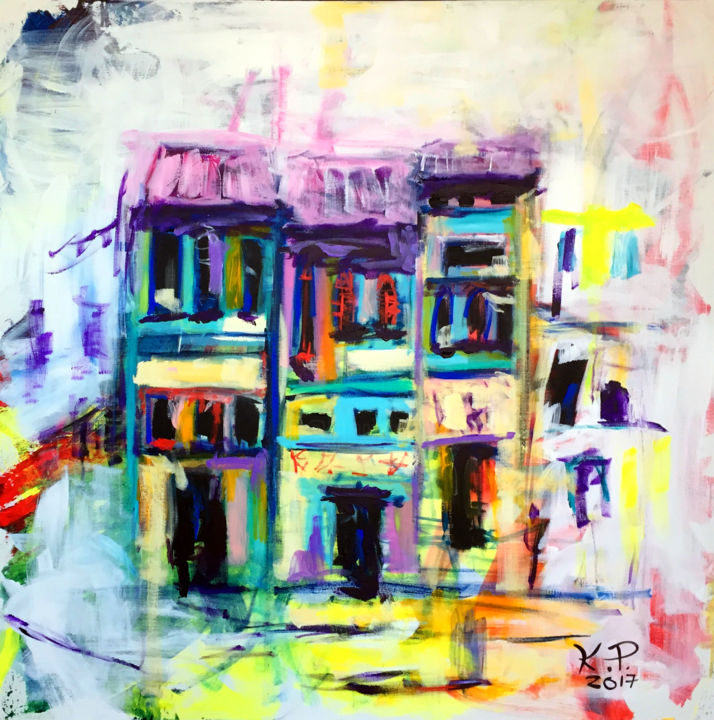 """Painting titled """"Neil Road"""" by Kasia Pawlak, Original Art, Acrylic Mounted on Stretcher frame"""
