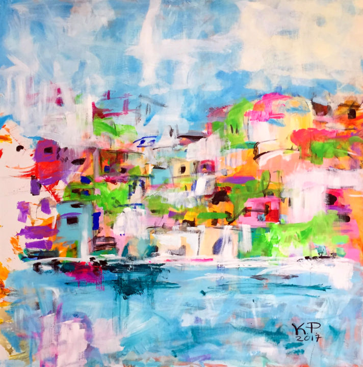 """Painting titled """"Riviera"""" by Kasia Pawlak, Original Art, Acrylic Mounted on Stretcher frame"""
