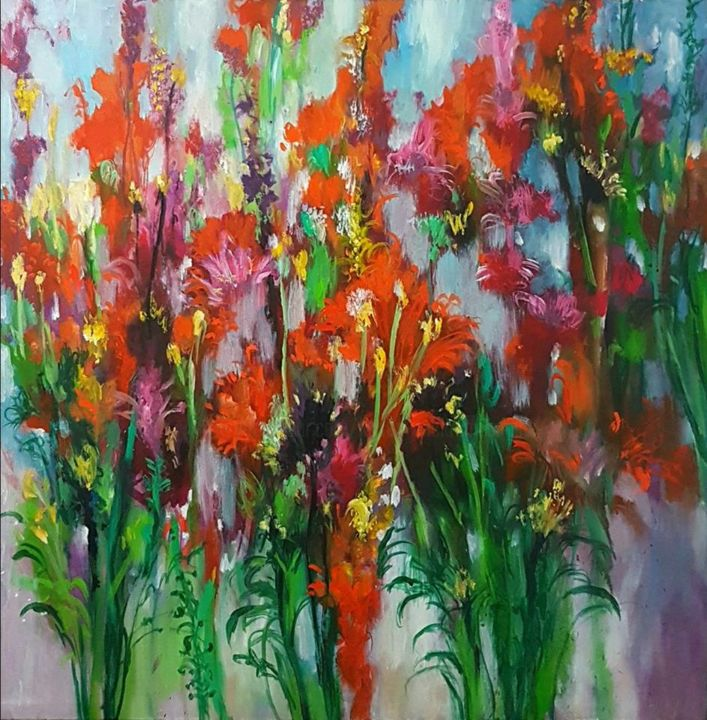 Row of Red Sword Lilies - © 2018 Landscape Paintings, Landscape Arts, Acrylic on Canvas, Acrylic Paintings Online Artworks