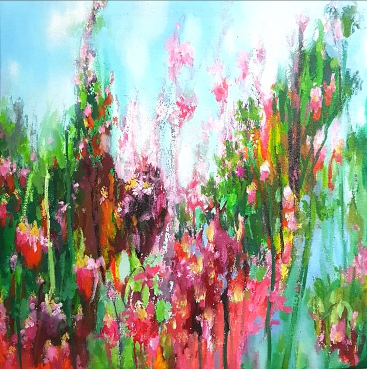 The Vibrancy of Nature - Painting,  48x36x1.5 in ©2018 by Kasun Wickramasinghe -                                                                                    Abstract Expressionism, Art Deco, Land Art, Canvas, Landscape, Landscape Paintings, Landscape Arts, Acrylic on Canvas, Acrylic Paintings