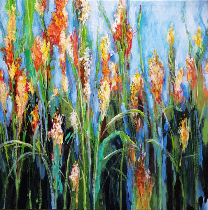 Blooming in the Wild - Painting,  24x36x1.5 in ©2018 by Kasun Wickramasinghe -                                                                    Abstract Expressionism, Art Deco, Land Art, Landscape, Landscape Paintings, Landscape Arts, Acrylic on Canvas, Acrylic Paintings