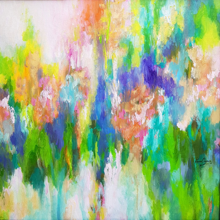 """Painting titled """"Grassy Meadow"""" by Kasun Wickramasinghe, Original Art, Acrylic Mounted on Stretcher frame"""