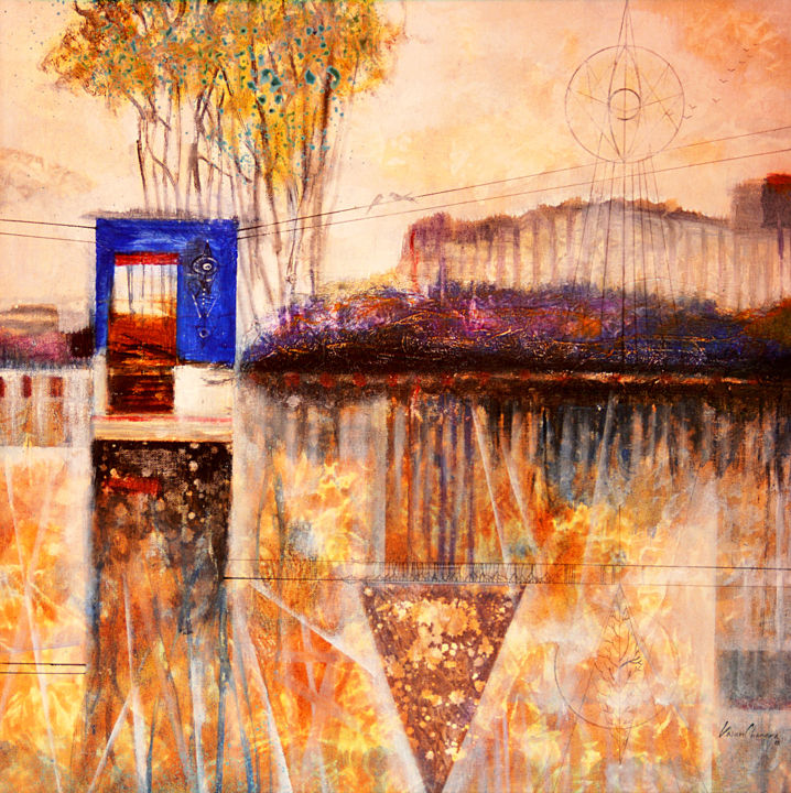 """Painting titled """"House by the River"""" by Kasun Wickramasinghe, Original Art, Acrylic Mounted on Stretcher frame"""