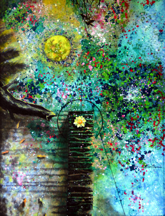 """Painting titled """"Blooms in Full Moon"""" by Kasun Wickramasinghe, Original Art, Acrylic Mounted on Stretcher frame"""