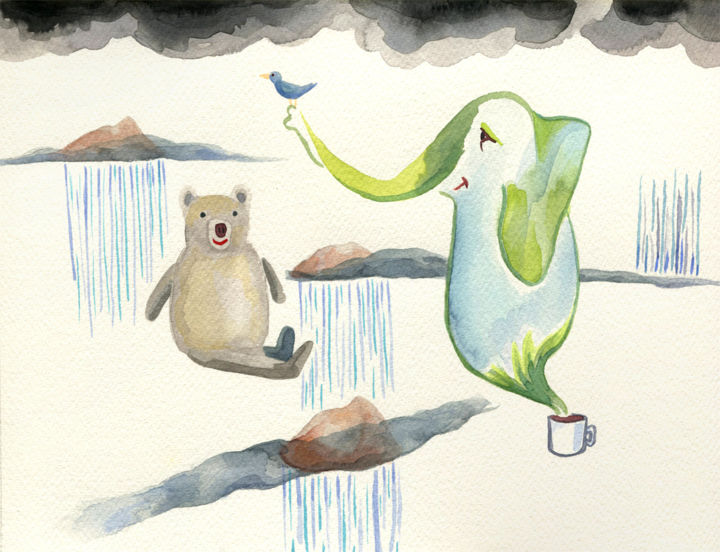 Rainy Islands - Painting,  30x22.6x0.2 cm ©2019 by Katja Vartiainen/KatArtPics -                                                                        Contemporary painting, Paper, Animals, Landscape, animals, landscape, bear, bird, elephant, children, rain, clouds, islands