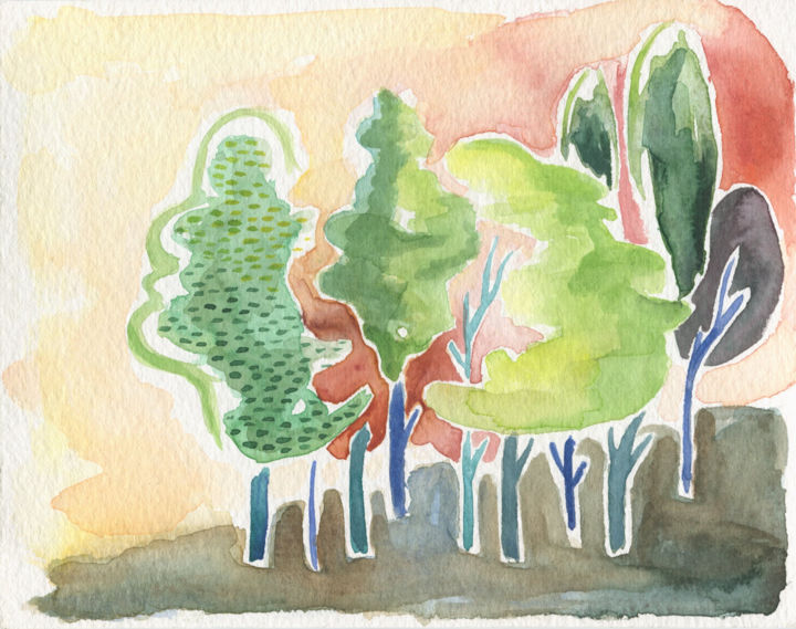 The Trees - © 2018 trees, watercolor, small, green, yellow, orange Online Artworks