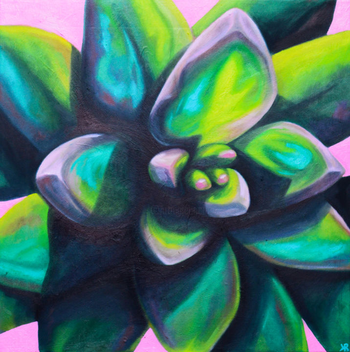 """Painting titled """"Succulent #2"""" by Kate Revill, Original Art, Oil"""