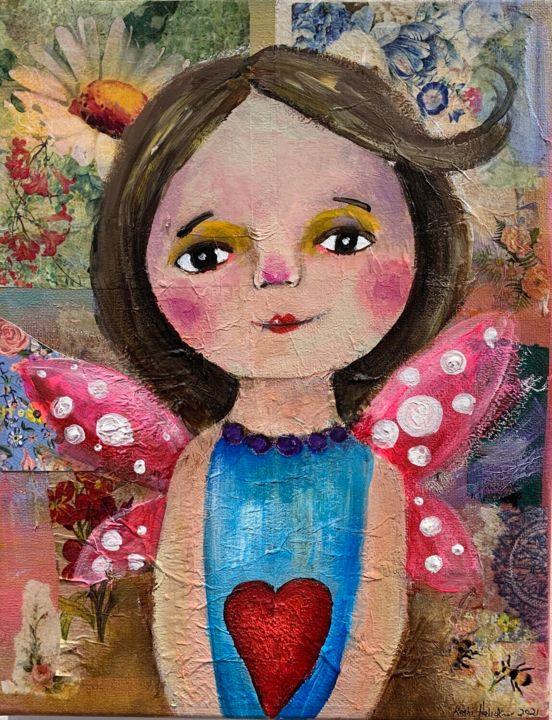 """Painting titled """"Angel painting with…"""" by Kathi Halickman, Original Art, Collages"""