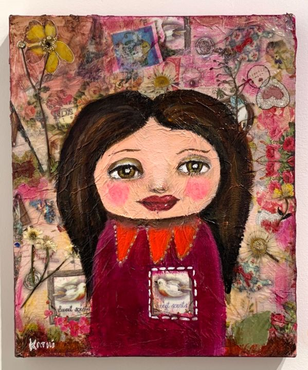 """Painting titled """"Girl Doll"""" by Kathi Halickman, Original Art, Collages"""