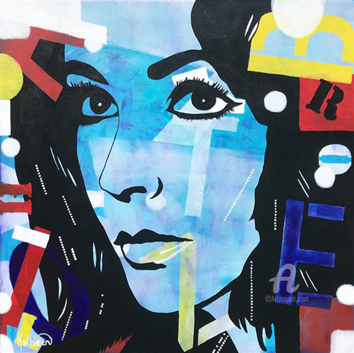 """Painting titled """"Elizabeth Taylor OR…"""" by Kathleen Artist, Original Art, Acrylic Mounted on Stretcher frame"""