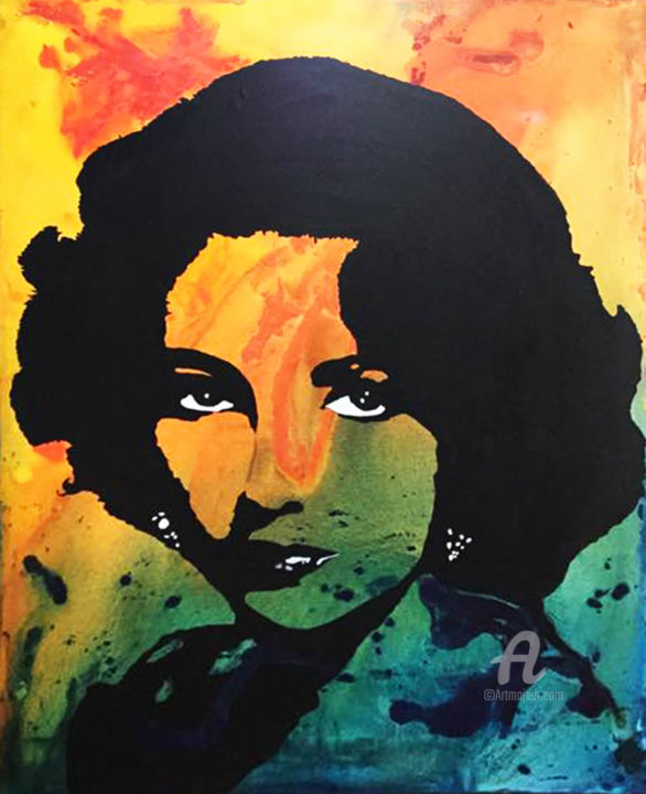 Elizabeth TAYLOR «Sun»   Painting, 40x30x1.5 In ©2017 By KATHLEEN