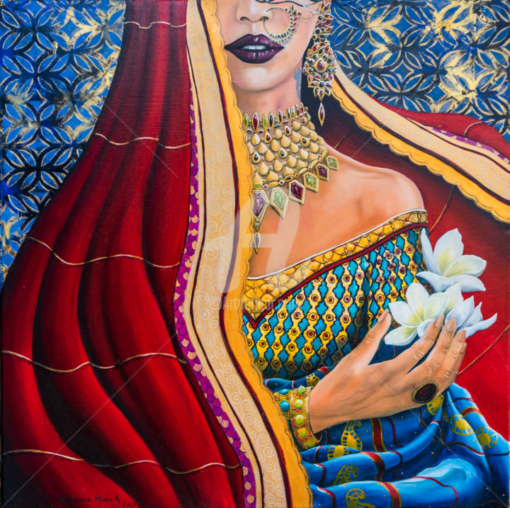 """Painting titled """"Parure indienne"""" by Katherine Marie A., Original Art, Oil"""