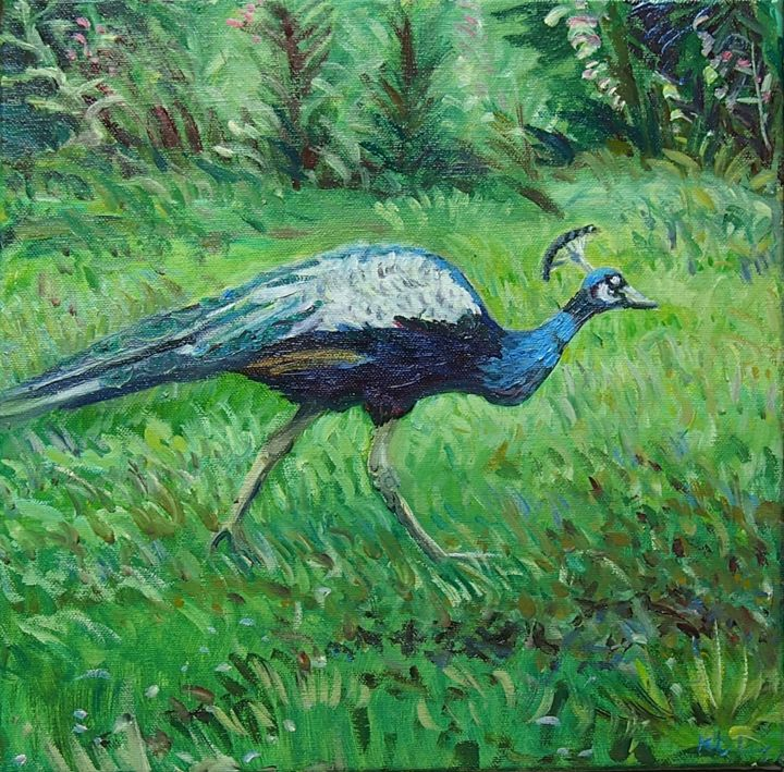 """Painting titled """"Peacock"""" by Katie O'Looney, Original Art, Oil Mounted on Stretcher frame"""