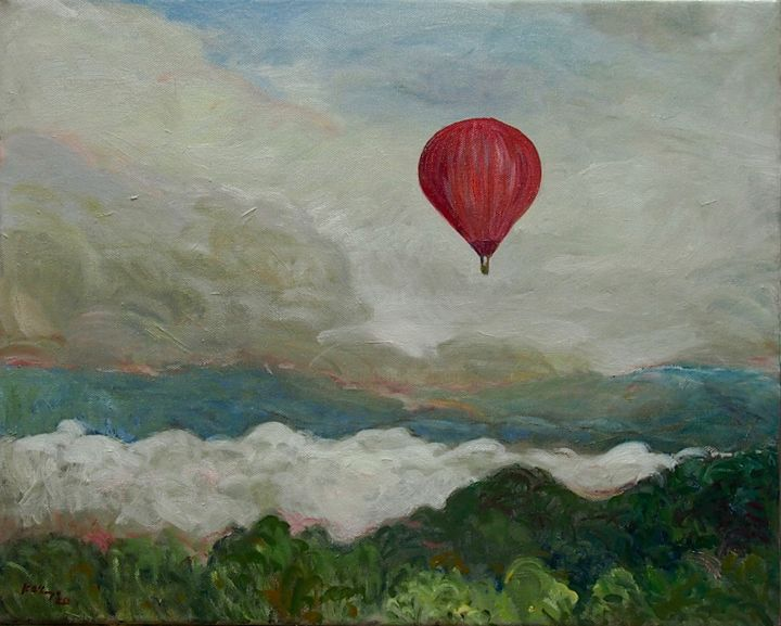 """Painting titled """"Red Balloon"""" by Katie O'Looney, Original Art, Oil Mounted on Stretcher frame"""