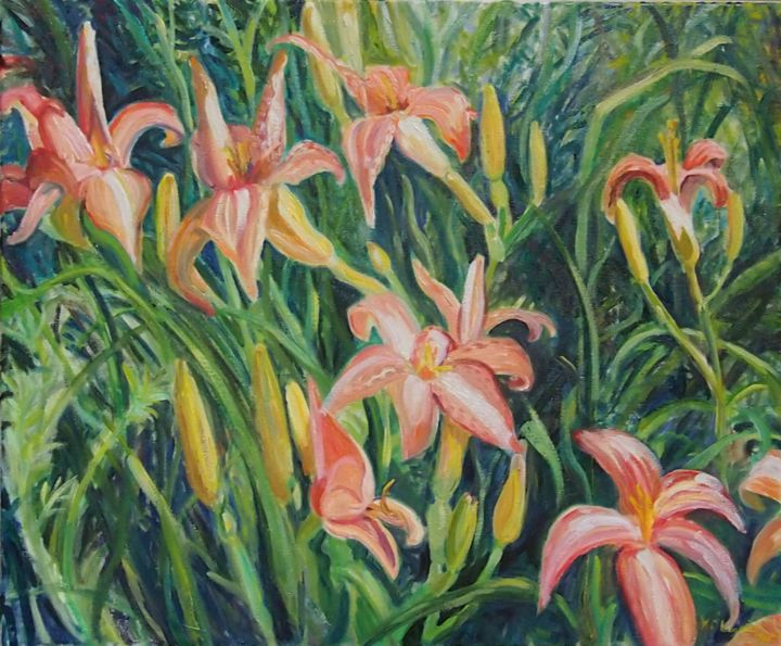 """Painting titled """"Day Lilies"""" by Katie O'Looney, Original Art, Oil Mounted on Stretcher frame"""