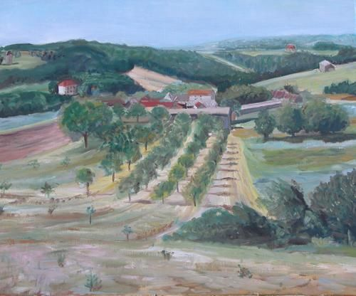 Veyrines de Domme France - Painting, ©2006 by Katie O'looney -