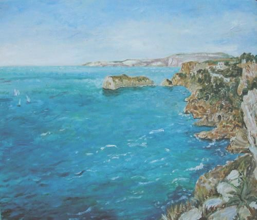 southern spanish coast - Painting, ©2000 by Katie O'looney -