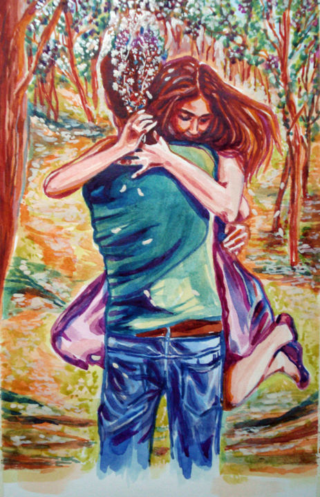 """Painting titled """"sweet-moments-of-ha…"""" by Katreen Queen, Original Art, Watercolor"""