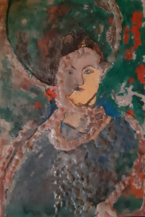 """Painting titled """"Lady in the garden"""" by Karmen Kavran, Original Art, Wax"""
