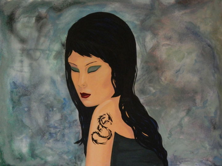 """Painting titled """"Tattoo"""" by Kay Vickerman, Original Art, Acrylic Mounted on Stretcher frame"""