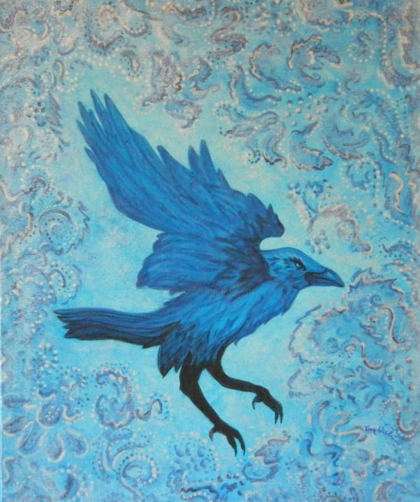 """Painting titled """"Raven in Blue"""" by Kay Vickerman, Original Art, Acrylic"""