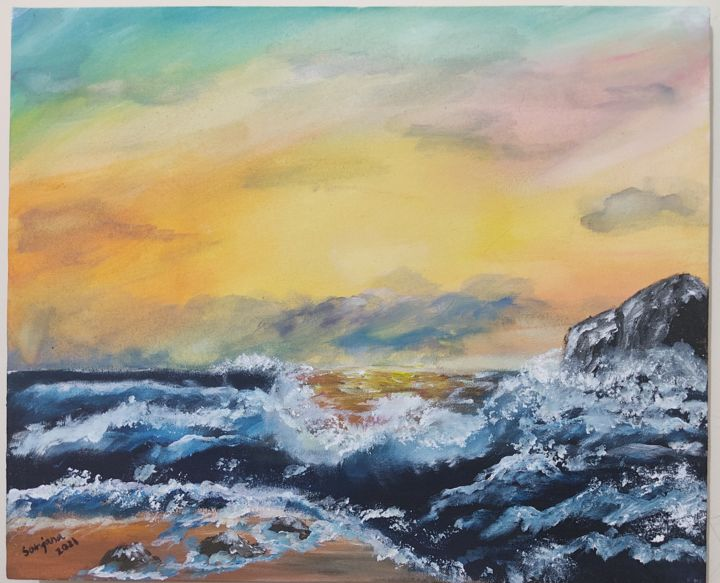 """Painting titled """"After the Storm dies"""" by Sanjana Taufique, Original Art, Acrylic"""