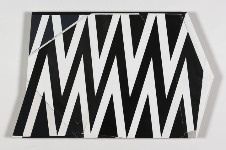 Lightning Bolt - Collages,  10x16x0.7 in, ©2020 by Kazuhiro Higashi -                                                                                                                                                                                                                                                                                                                                                                                                                                                                                                                                              Abstract, abstract-570, Abstract Art, Geometric, pattern, shark teeth, thunder, zigzag, electric, flash, op art