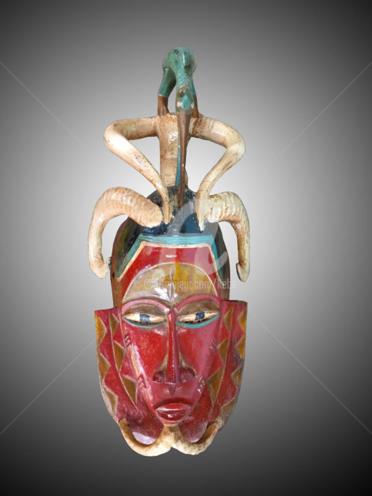 Masque Gouro art tribal de la cote d'ivoire - Sculpture,  17.7x7.5 in, ©2019 by Kebe -                                                                                                                                                                                                                                                                                                                                                                                                                                                                                                      Tribal Art, tribal-art-950, Wood, artwork_cat.Performing Arts, Bois sculpté, art tribal de la cote d'ivoire, Masque Gouro, ethnies de la cote d'Ivoire, les Gouro, Les arts d'Afrique