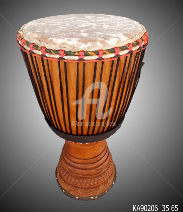 Djembe Instrument Musique Africain Percussion - Sculpture,  25.6x13.8 in, ©2019 by Kebe -                                                                                                                                                                                                                                                                                                                                                                                                                                                                                                      Tribal Art, tribal-art-950, Wood, Music, Djembe, tam tam, percussion, dance, cora, musique tradition