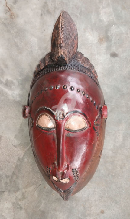 Masque Baoulé de la cote d'ivoire  art premier KA200035 - Sculpture,  13.4x6.3 in, ©2020 by Kebe -                                                                                                                                                                                                                                                                                                                                                                                                                                                                                                                                                                                          Tribal Art, tribal-art-950, Abstract Art, baoulé, gouro, dan, art premier, art tribal, yahoure, grebo, toma, bambara
