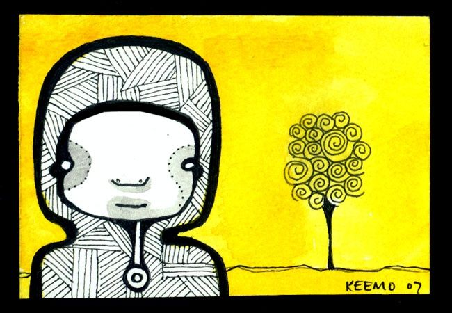 """Painting titled """"Artist With Tree"""" by Keemo, Original Art, Other"""
