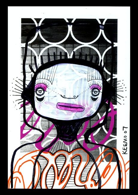 """Painting titled """"Portrait On Postcar…"""" by Keemo, Original Art, Other"""